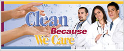 Clean Because We Care 3 x 10' Banner